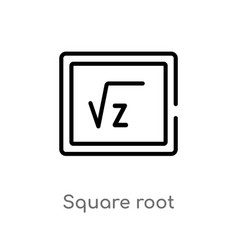 outline square root icon isolated black simple vector image