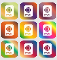 Passport icon sign Nine buttons with bright vector image