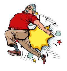 Pensioner kick ageism age discrimination the vector