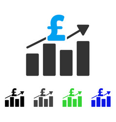 Pound business chart flat icon vector