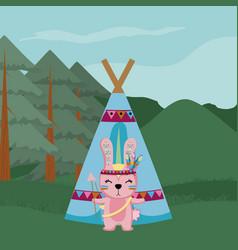 rabbit cute hippie cartoon vector image