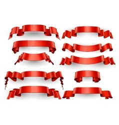 Realistic Red Glossy ribbons Large set vector