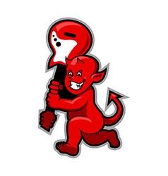 Red Devil Boy Swingin Guitar vector image