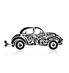 Retro car abstract painted silhouette for your vector