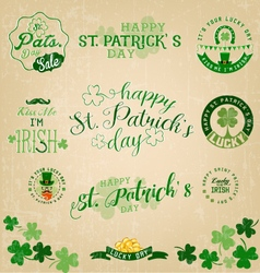 Saint Patricks Day Typographical Set vector image