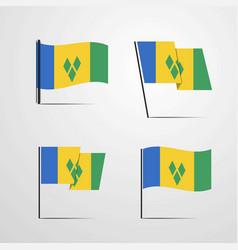 Saint vincent and grenadines waving flag set vector