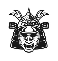 Samurai traditional japanese mask object vector