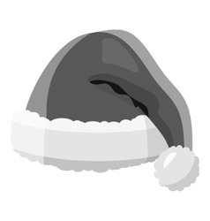 Santa Claus hat icon gray monochrome style vector image