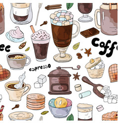 seamless pattern with different coffee drinks ant vector image