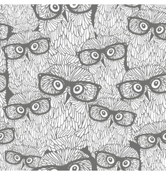 Seamless pattern with grey owls vector