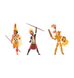 Set aboriginal or indigenous warriors men vector
