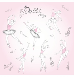 Set ballet dancers hand drawn background vector