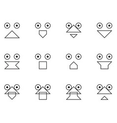 Set of emoticon faces on a white background vector