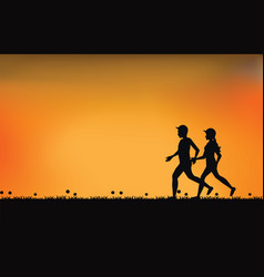 Silhouettes of couple runners with beautiful sky vector