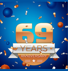 Sixty nine years anniversary celebration design vector