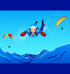 Sky-diving and paragliding vector image