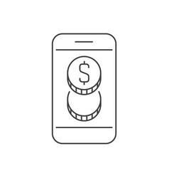 smartphone with money coins outline icon vector image