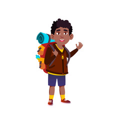 Smiling boy hiker going on hill with backpack vector