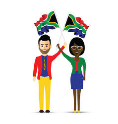 south africa flag waving man and woman vector image