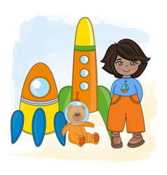 space boy children dream game cartoon vector image
