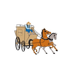 Stagecoach Driver Horse Cartoon vector