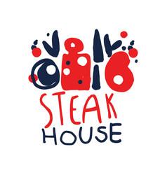steak house logo template vintage label colorful vector image