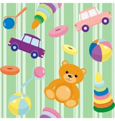 Striped seamless pattern with toys vector