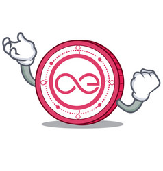 Successful aeternity coin character cartoon vector
