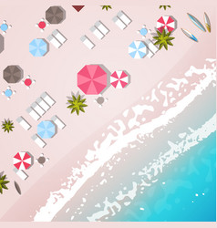 summer beach vacation top angle view sand colorful vector image