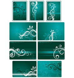 Teal green background set vector