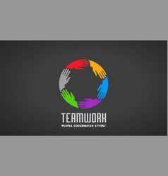 teamwork business hands logo design vector image