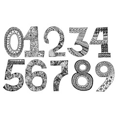 the set of hand drawn numbers for your design vector image