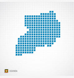 uganda map and flag icon vector image