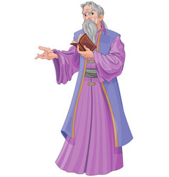 Wizard with book vector