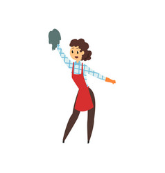 Woman cleaning house with rag professional vector