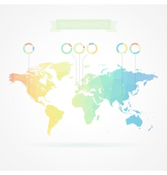 world map with elements infographics vector image