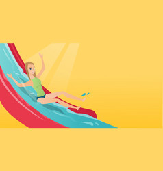 young caucasian woman riding down a waterslide vector image