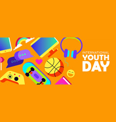 Youth day banner of fun teen activity icons vector