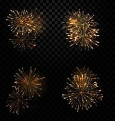 Festive Set Fireworks Salute on Transparent vector image