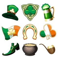 Saint Patricks Day Emblem Set vector image