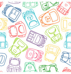 school pattern with colorful outline backpacks vector image