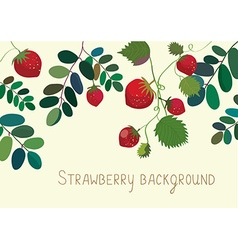 Strawberry background with leaves vector image