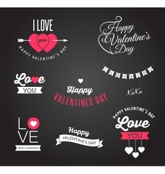 Valentines day icons lettering and elements vector image vector image
