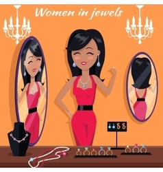 Women in Jewels in Front of Mirror Jewelry Banner vector image