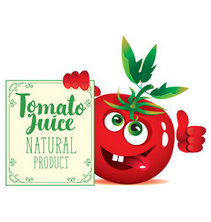 banner for tomato juice with cute character tomato vector image vector image