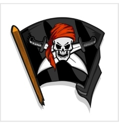 Black pirate flag with skull and cross swords vector