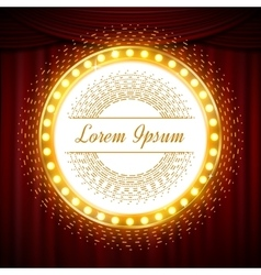 Circle glittering golden banner on red curtain vector