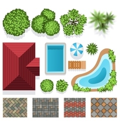 Landscape garden design elements top view vector image