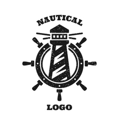 lighthouse and a steering wheel logo vector image vector image