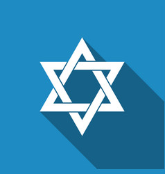 Star of david icon isolated with long shadow vector